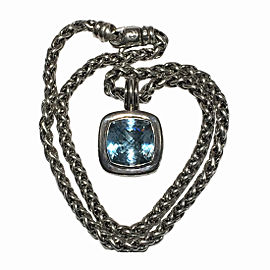 David Yurman Albion 925 Sterling Silver 14mm Blue Topaz Wheat Chain Necklace