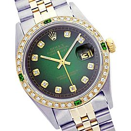 Rolex Datejust Two Tone Green Vignette Diamond and Emerald Watch 36mm