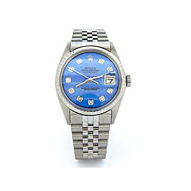 Mens Rolex Steel Datejust Blue MOP Diamond 1603