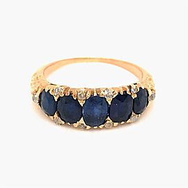 Awesome 18k Yellow Gold Sapphire and Diamond Ring