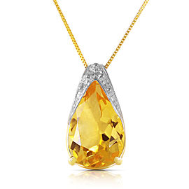 5 CTW 14K Solid Gold Necklace Natural Citrine