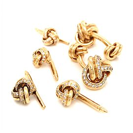 18k Yellow Gold Double Knot Diamond Cufflink and Shirt Stud Set