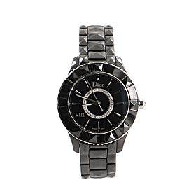 Christian Dior Christal VIII Quartz Watch Ceramic and Stainless Steel with Diamond Bezel 33