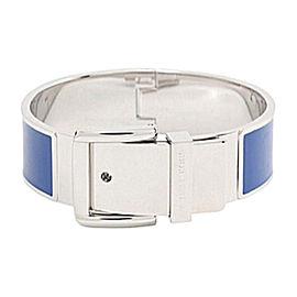 Michael Kors Silver Tone Blue Enamel Hinge Bangle Bracelet