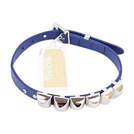 Michael Kors Blue Silver Leather Pyramid Stud Buckle Bracelet
