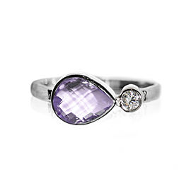 Sterling Silver Amethyst, White Topaz Ring