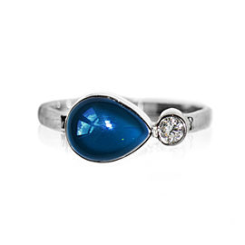 Sterling Silver London Blue Topaz, White Topaz Ring