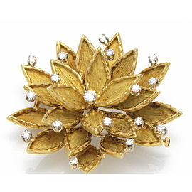Boucheron 18K Yellow Gold 0.75 ctw. Diamonds Flower Brooch Pin