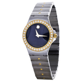 Movado 85.A1.816.2S 18K Gold Diamond Black Dial Quartz Stainless Womens Watch