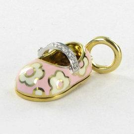 Aaron Basha Baby Shoe Diamond Strap Pink Diamond