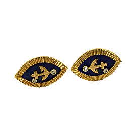 18K Yellow Gold Diamond & Blue Enamel Marquise Shape Anchor Cufflinks