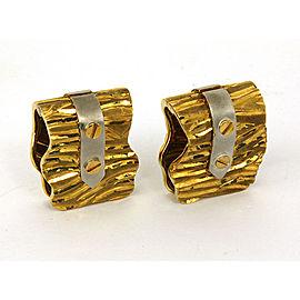18K Yellow & White Gold Unique Design Men's Cufflinks