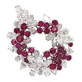 Shoot for the moon Diamond and Ruby Brooch