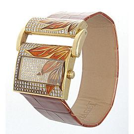 Piaget 18K Yellow Gold Diamond & Enamel Womens Watch