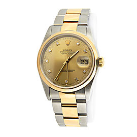 Mens Rolex Two-Tone Datejust Champagne Diamond 16203