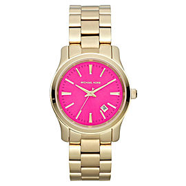 Michael Kors MK5801 Gold Tone 3 Hand Runway Pink Dial Analog Womens Watch