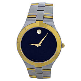 Movado Black Dial Two-Tone Bracelet Mens Watch