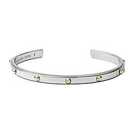 Michael Kors Silver Gold-tone Stainless Steel Stud Open Cuff Bracelet