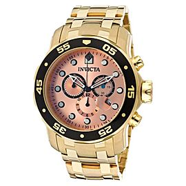Invicta 80063 Pro Diver Chrono Rose Gold Tone Dial 18K Gold Ion-Plate Watch