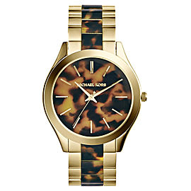 Michael Kors MK4284 Runway Gold-Tone Steel Tortoise Acetate Dial Women's Watch