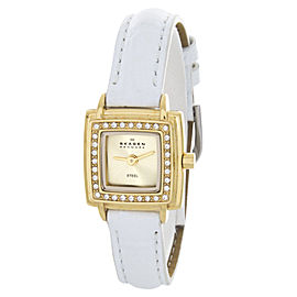 Skagen 821XSGG1 Crystals Gold Tone Case White Leather Band Watch