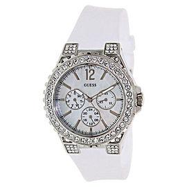 Guess U12653L1 White Pearl Chronograph Dial Swarovski Crystal Bezel Sport Watch