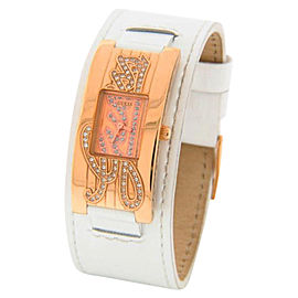 Guess W10257L1 Swarovski White Leather Rose Gold-Tone Steel Womens Watch