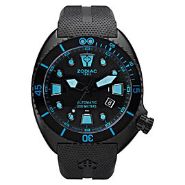 Zodiac ZO8018 Oceanaire Automatic Black Dial Blue Accent Rubber Strap Mens Watch