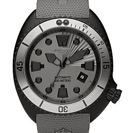 Zodiac ZO8014 Oceanaire Automatic Grey Rubber Band Black Stainless Steel Case Mens Watch