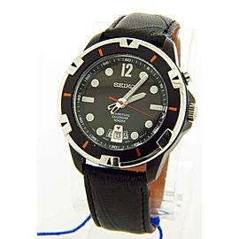 Seiko Black Leather Band Black Dial Men's Watch