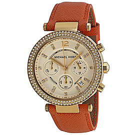 Michael Kors MK2279 Parker Champagne Dial Leather Band Chronograph Womens Watch