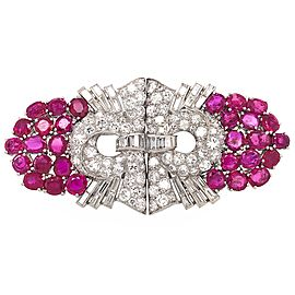 Cartier Art Deco Platinum Ruby with Round and Baguette Diamond Brooch