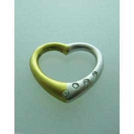 18K MULTI TONE GOLD HEART DIAMONDS PENDANT CHARM NECKLACE LOVE