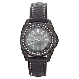 Anne Klein 10/9669 Swarovski Crystal Accented Mother Of Pearl Dial Leather Womens Watch