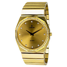 Concord Mariner 14K Yellow Gold Diamond Bezel Quartz Movement Womens Watch