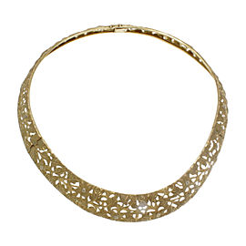 18K Yellow Gold Floral Motif Choker 15'' Necklace