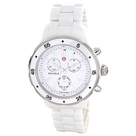 Michele MWW17J000001 White Dial White Ceramic Case and Bracelet Women's Watch