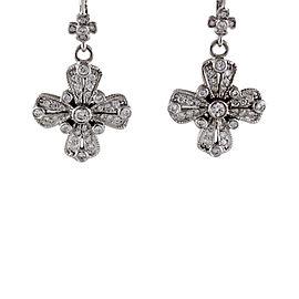 Judith Ripka 18K White Gold 1.00 Ct Paved Diamond Cross Dangle Earrings