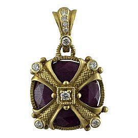 Judith Ripka 18K Yellow Gold Ruby 0.48 Ct Diamond Circle Pendant