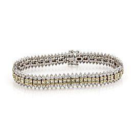 18K Yellow & White Gold 14.00ct Diamond 3 Row Tennis Bracelet