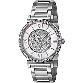 Michael Kors MK3355 Catlin Mother of Pearl Crystal Dial Stainless Steel 36mm Womens Watch