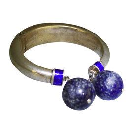 Gucci 925 Sterling Silver Enamel Lapis Lazuli Cuff Bracelet