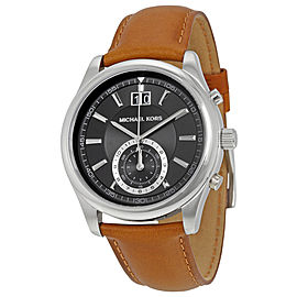 Michael Kors MK8416 Stainless Steel & Leather Black Dial Chronograph 43mm Mens Watch