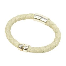 Bottega Veneta White Leather Bracelet