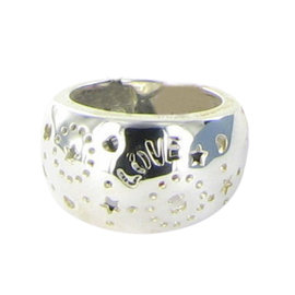 """Tous 925 Sterling Silver Lyra Dome """"Love"""" Bears Ring Size 7"""