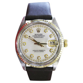 Rolex Datejust 16013 Yellow Gold Stainless Steel Diamonds Tahitian Mother of Pearl Dial 36mm Mens Watch