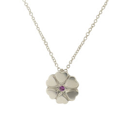 Tiffany & Co. Sterling Silver Pink Sapphire Crown Of Hearts Necklace