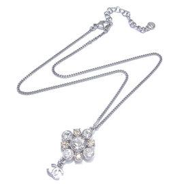 Chanel Gold Tone Rhinestone Bijou CC Logo Pendant Necklace
