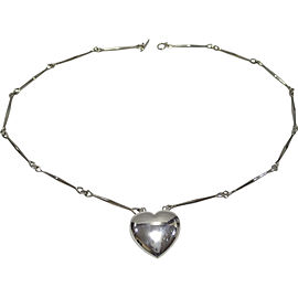 Georg Jensen 925 Sterling Silver Heart Pendant Long Necklace
