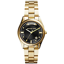 Michael Kors MK6070 Gold Plated Stainless Steel Black Dial Quartz 33mm Women's Watch